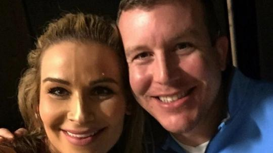 Ted DiBiase Jr. with Natalya Backstage at WWE event in Jackson, MO.